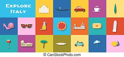 Travel to Italy vector icons set