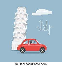 Travel to Italy vector illustration. Design element with Italian Pisa