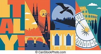 Travel to Italy vector skyline illustration, postcard. Italian modern flat graphic banner