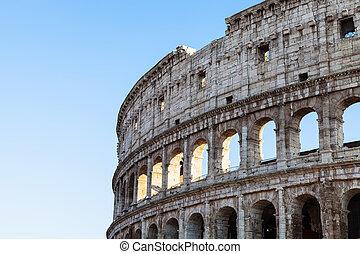 walls of ancient roman amphitheatre Coliseum