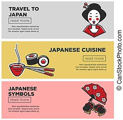 Travel to Japan promotional Internet banners with country symbols