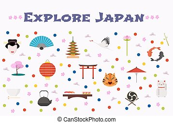 Travel to Japan vector icons set, background