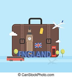 Travel to London, Great Britain concept with landmark icons...