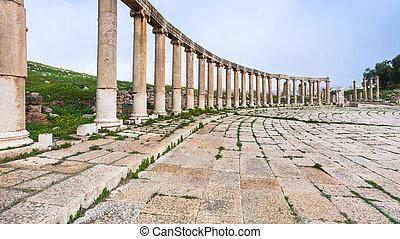colonnade of Oval Forum in Jerash (ancient Gerasa)