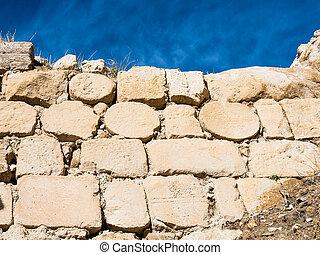 medieval masonry of wall of Kerak Castle