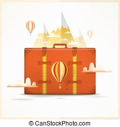 Travel to mountains background. Travelling and hiking concept. Travellers scene with suitcase, balloon, snow peaks and clouds