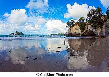 Ocean tidal wave - Travel to New Zealand. Ocean tidal wave ...