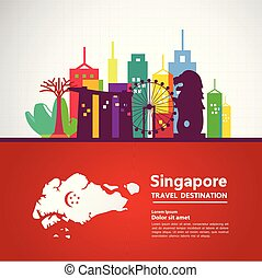 Travel to Singapore vector illustration