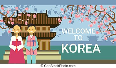 Travel To South Korea Poster, Korean Coupe Wear National Clothing Over Famous Temple And Sakura Cherry Blossom