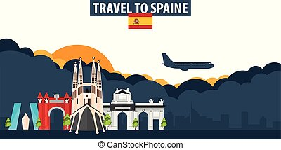 Travel to Spain. Travel and Tourism banner. Clouds and sun with airplane on the background.