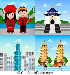 Travel to Taiwan. Taiwanese people in national dress. Woman...