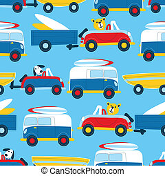 Travel to the beach seamless pattern