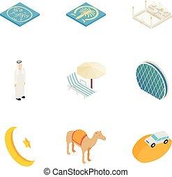 Travel to United Arab Emirates icons set