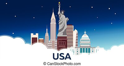 Travel to USA, New York Poster skyline. Statue of Liberty. Vector illustration.