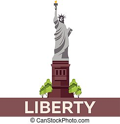 Travel to USA, New York Poster. Statue of Liberty. Vector illustration.