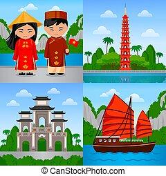 Travel to Vietnam. Vietnamese people in national dress....