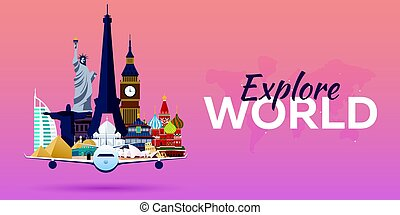 Travel to World. Airplane with Attractions. Travel vector banners. Flat style.