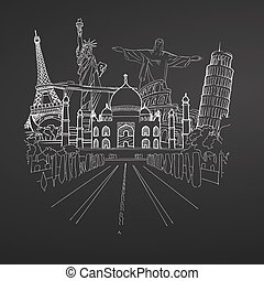 Travel to world Collection on chalkboard
