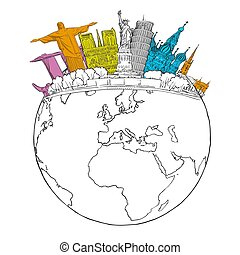 Travel to World Landmarks on Globe
