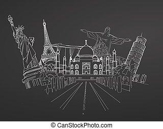Travel to World. Sketch on Chalkboard