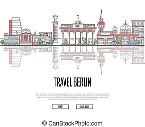 Travel tour to Berlin poster in linear style - Travel tour...