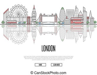 Travel tour to London poster in linear style