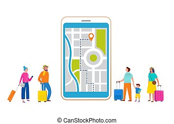 Travel, tourism, adventure scene with smartphone and miniature people, tourists in modern flat style. Vector illustration