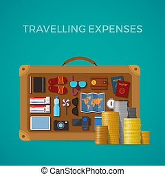 Travel & tourism expenses vector concept in flat style