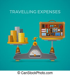 Travel & tourism expenses vector concept with balance scales...