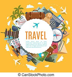 Travel tourism label with attractions