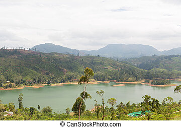 view to lake or river from land hills on Sri Lanka