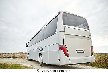 tour bus driving outdoors - travel, tourism, road trip and ...