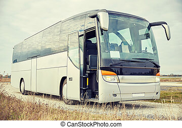 tour bus staying outdoors - travel, tourism, road trip and ...