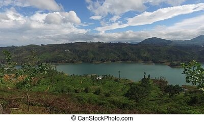 view to lake or river from land hills - travel, tourism, ...