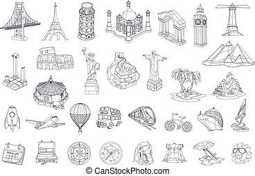 Travel, tourist attraction. vector icon set