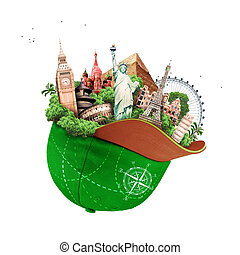 Travel, tourist attractions in a green baseball cap