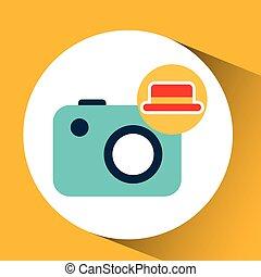 travel tourist hat concept photo camera