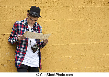 travel tourist with map