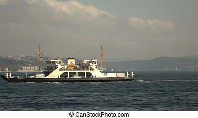 Travel touristic ships and ferry-boats in Bosphorus strait...