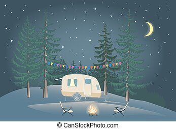 Travel Trailer in night forest with bonfire.