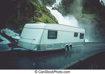 Travel Trailer Vacation Trip. Caravaning on the Road....
