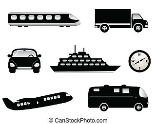 Travel, transportation and tourism symbols