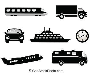 Travel, transportation and tourism symbols