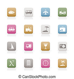 Travel, transportation, tourism and holiday icons - vector ...