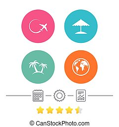 Travel trip icon. Airplane, world globe symbols. Palm tree...