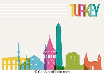 Travel Turkey famous landmarks skyline multicolored design background. Transparency vector organized in layers for easy create your own website, brochure or marketing campaign.