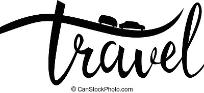travel typographic inspirational poster. Linear camping logo.