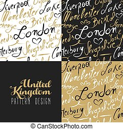 Travel uk london seamless pattern gold city text - Travel...