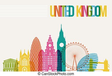 Travel United Kingdom famous landmarks skyline multicolored design background. Transparency vector organized in layers for easy create your own website, brochure or marketing campaign.