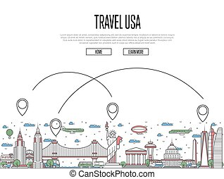 Travel USA poster in linear style